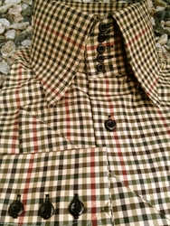 MorCouture Earth Check<br> 5Button Centipede<br> High Collar Shirt w/matching Hanky