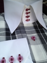 MorCouture White Grey Check 4 Button High Collar Shirt w/Check Hanky