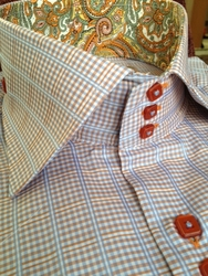 Axxess Sky Orange  Check High Collar Shirt