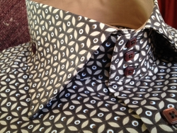 Axxess Brown Pattern High Collar Shirt