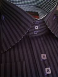 Axxess Purple Stripe High Collar Shirt