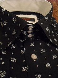 Axxess Black Flowers High Collar Shirt