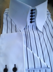 MorCouture White Black Pinstripe 5 Button High Collar Shirt w/Hanky