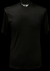 Ribbed Short Sleeve V-Neck Shirt (Black)