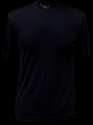 Ribbed Short Sleeve V-Neck Shirt (Navy)