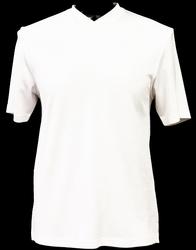 Ribbed Short Sleeve V-Neck Shirt (White)