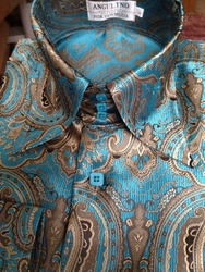 Angelino Martin Turquoise High Collar Shirt