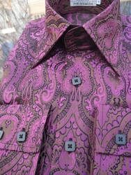 Angelino Leon Purple Chocolate High Collar Shirt