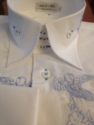 Angelino Piccioni White Blue High Collar Shirt