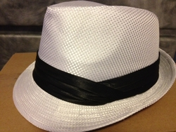 White Fedora Hat (Black band)
