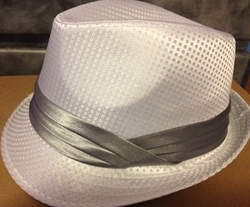White Fedora Hat (Gray band)