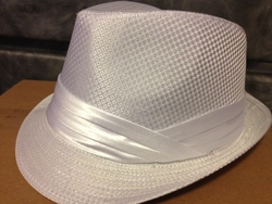 White Fedora Hat (White band)