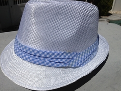 White Fedora Hat (Blue Gingham band)