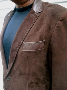 MorCouture (Custom) Brown Suede/Lambskin Leather Blazer