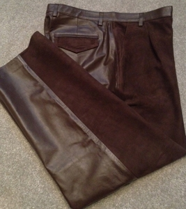 MorCouture Suede and Leather Pants-Brown (Custom)