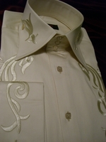 Axxess Embroidered High Collar Shirt Ivory Cream Size L(15.5 - 16)