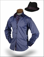 Romeo Navy High Collar Shirt and Fedora only size S (15.5)