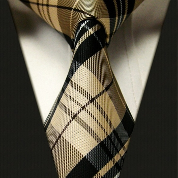 Tan Plaid Silk Necktie