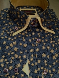 Axxess Black Floral 2 Button Collar Shirt