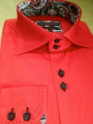 Axxess Red Black Stitch 2 Button Collar Shirt