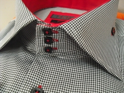 Axxess Micro Houndstooth High Collar Shirt