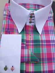 MorCouture Pink Green Plaid 4 Button High Collar Shirt w/Hanky