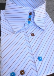 MorCouture Diagonal White Blue Brown High Collar Shirt size XL(16.5 - 17)