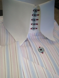 MorCouture Pink Blue Woven Centipede High Collar Shirt w/hanky