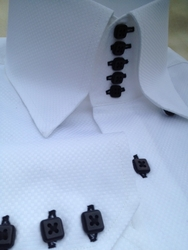 MorCouture White Black Woven 5 Button 'Centipede' High Collar Shirt
