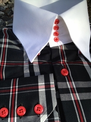 MorCouture Black Red White Check 4 Button High Collar