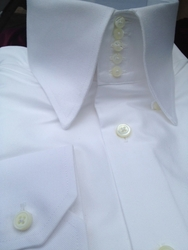 MorCouture White Twill<br> 5Button Centipede <br>High Collar Shirt