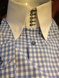 MorCouture Blue Gingham<br> 5Button Collar Shirt<br>(Matching Hanky)