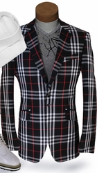 Angelino Black Check Blazer