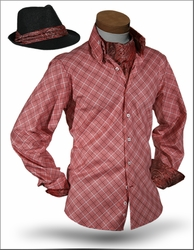 Angelino Yuma Plum High Collar Shirt w/Ascot and Fedora