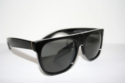Black Flat Top Sunglasses (Gold Line)