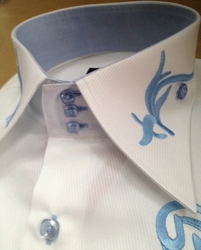 Axxess White Sky Embroidered High Collar Shirt