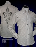 ANGELINO 'CROSS' HIGH COLLAR SHIRT -white size 18.5