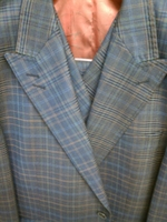 Tiglio Iridescent Blue Plaid 3 Piece Italian Suit size 44R