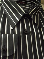 Leonardi Black White Stripe Shirt  size L(15.5 - 16)