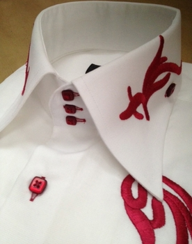 Axxess White Berry Embroidered High Collar Shirt