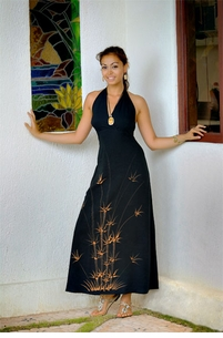 Womens Long Halter Dress in Bamboo Black