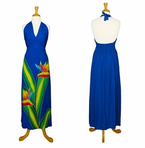 LONG ROYAL BLUE DRESS WITH HAND PAINTED BIRD OF PARADISE DESIGN