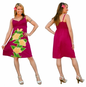 Womens Hot Pink Short V-Neck Dress with Floral Design