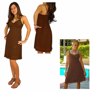 Womens Mini Dress / Short Dress - Light Brown
