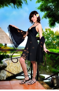 Short Summer Dress With Bamboo Design