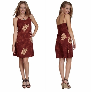 Womens Sundress - Hibiscus Brown
