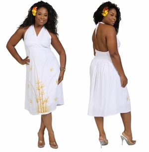 SUNDRESS - HALTER - LINED - BAMBOO WHITE
