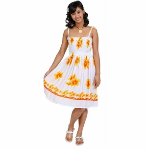 Womens Sundress/Tube Dress Yellow Hibiscus Design