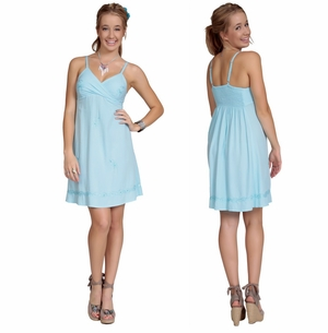 Womens Mini Dress / Short Dress - Light Turquoise