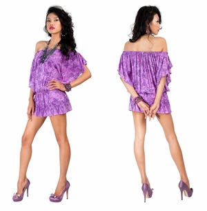 Off the Shoulder Purple Butterfly Cover-Up Tunic Short Dress